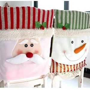 New Set of 2 Chair Covers Santa & Snowman